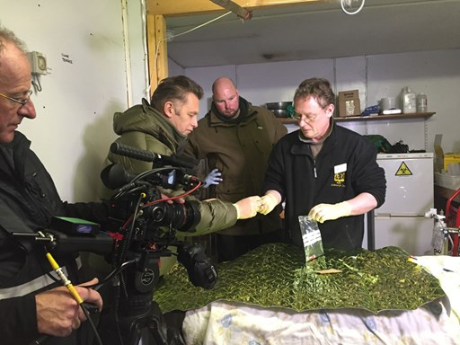 Chris Packham at RZSS Highland Wildlife Park for BBC Winterwatch filming