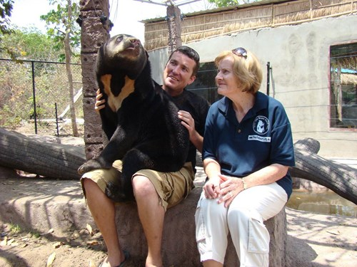 Sun bear Dilli with Matt and Mary
