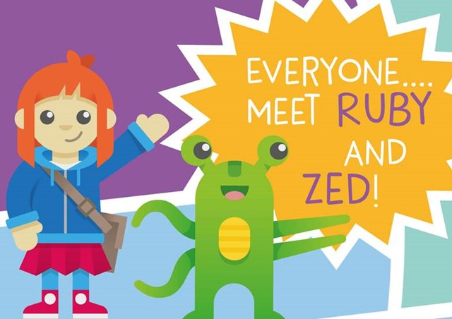 Ruby and Zed RZSS Education mascots illustration