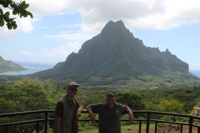 Gareth and Trevor in French Polynesia during the reintroduction
