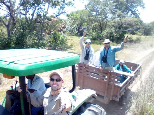 Traveling by tractor during an expedition in the flooded Pantanal