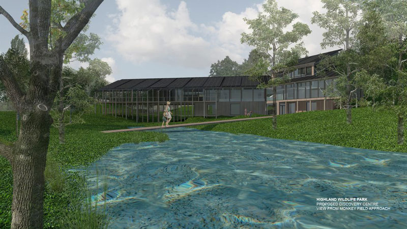 Artists impression of the proposed new visitor centre at RZSS Highland Wildlife Park